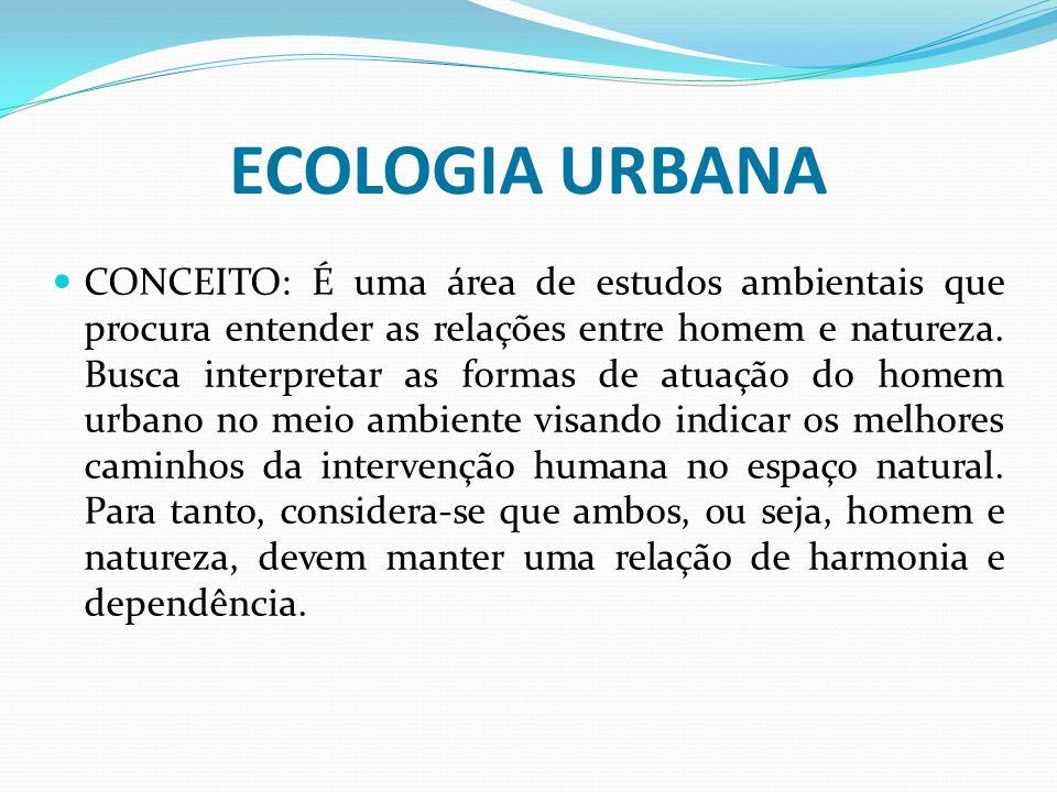 ECOLOGIA URBANA CONCEITO: É uma área de estudos ambientais que procura entender as relações entre homem e natureza. Busca interpretar as formas de atu