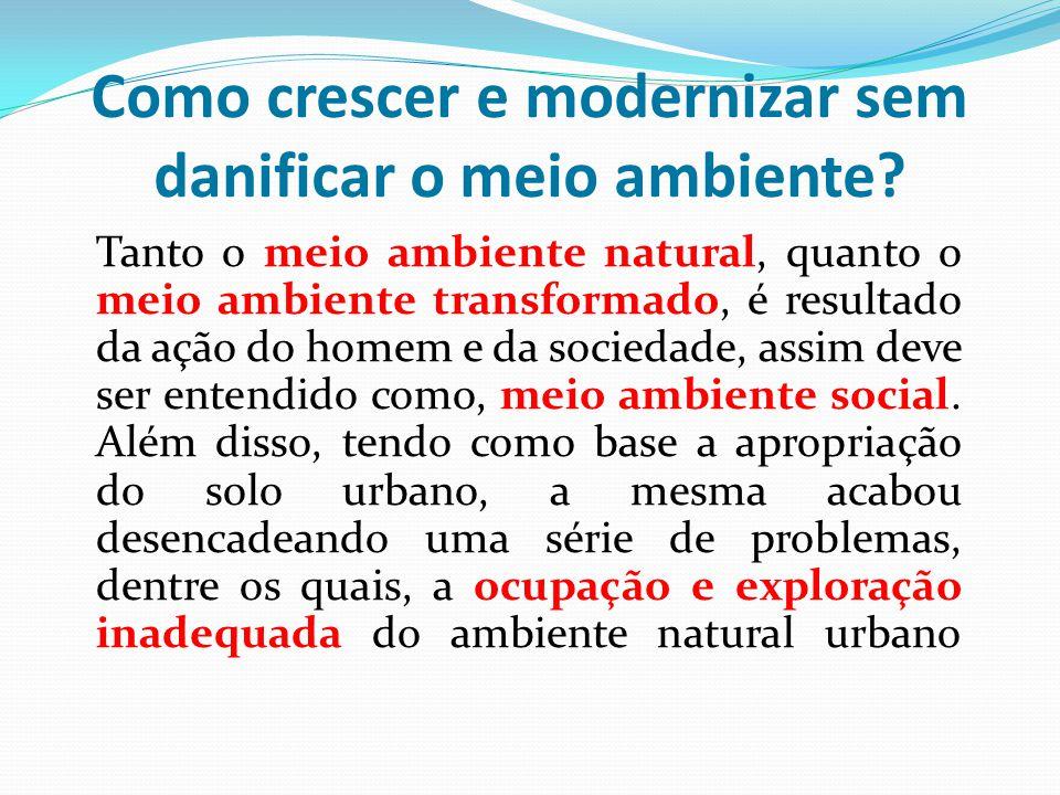 Como crescer e modernizar sem danificar o meio ambiente? Tanto o meio ambiente natural, quanto o meio ambiente transformado, é resultado da ação do ho