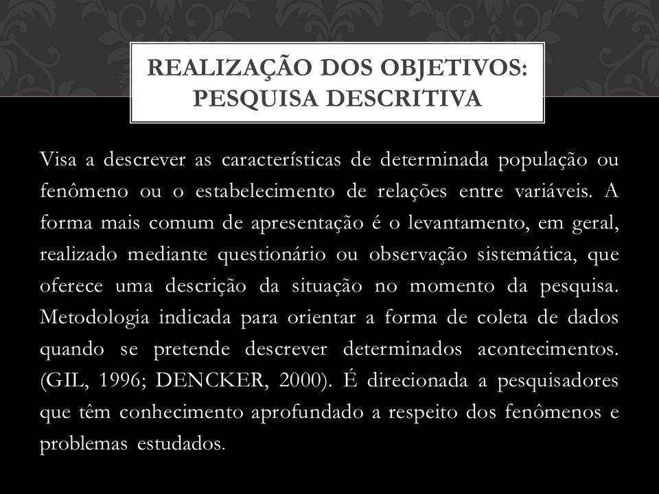 Visa a descrever as características de determinada população ou fenômeno ou o estabelecimento de relações entre variáveis.