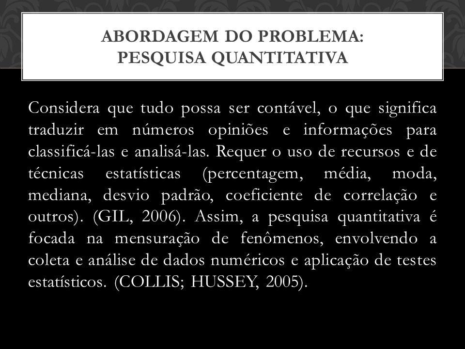 Considera que tudo possa ser contável, o que significa traduzir em números opiniões e informações para classificá-las e analisá-las.