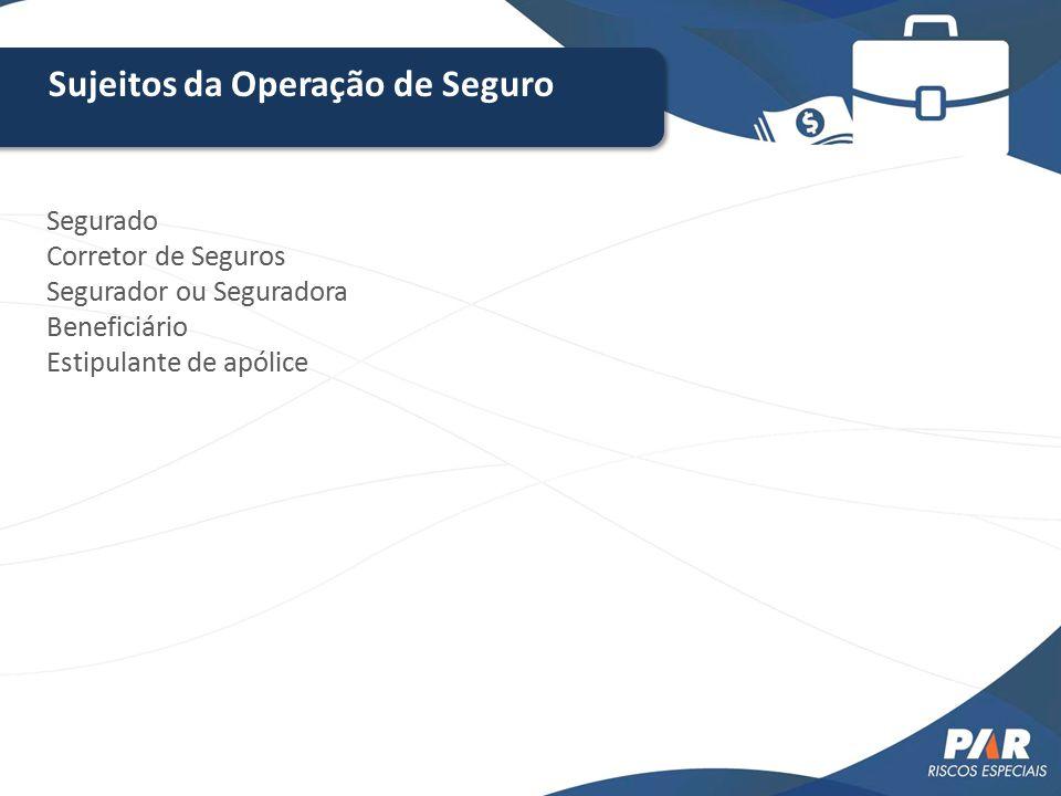 Sujeitos da Operação de Seguro Segurado Corretor de Seguros Segurador ou Seguradora Beneficiário Estipulante de apólice