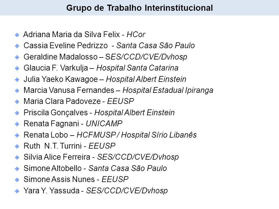 Adriana Maria da Silva Felix - HCor Cassia Eveline Pedrizzo - Santa Casa São Paulo Geraldine Madalosso – SES/CCD/CVE/Dvhosp Glaucia F. Varkulja – Hosp