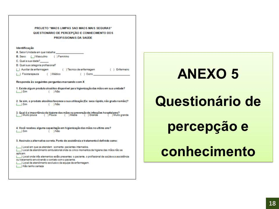ANEXO 5 Questionário de percepção e conhecimento ANEXO 5 Questionário de percepção e conhecimento 18