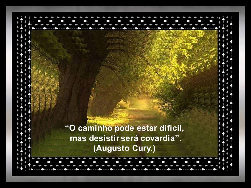 O caminho pode estar difícil, mas desistir será covardia . (Augusto Cury.)