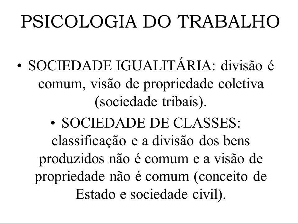 PSICOLOGIA DO TRABALHO SOCIEDADE IGUALITÁRIA: divisão é comum, visão de propriedade coletiva (sociedade tribais). SOCIEDADE DE CLASSES: classificação