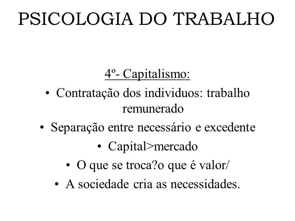 PSICOLOGIA DO TRABALHO 4º- Capitalismo: Contratação dos individuos: trabalho remunerado Separação entre necessário e excedente Capital>mercado O que s