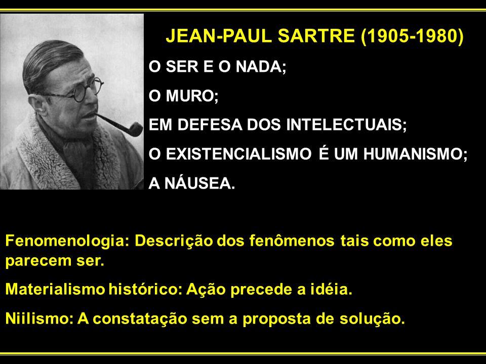 JEAN-PAUL SARTRE (1905-1980) O SER E O NADA; O MURO; EM DEFESA DOS INTELECTUAIS; O EXISTENCIALISMO É UM HUMANISMO; A NÁUSEA. Fenomenologia: Descrição