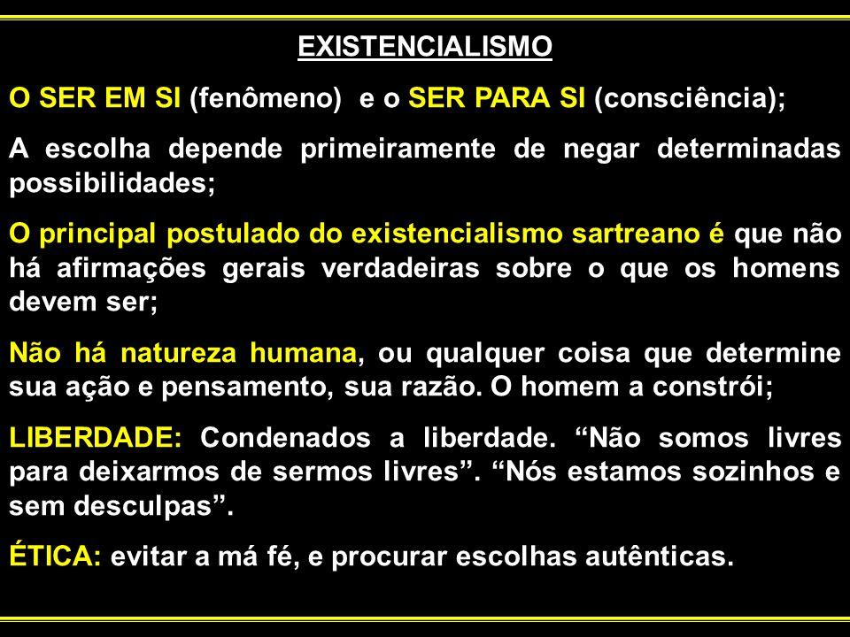 EXISTENCIALISMO O SER EM SI (fenômeno) e o SER PARA SI (consciência); A escolha depende primeiramente de negar determinadas possibilidades; O principa