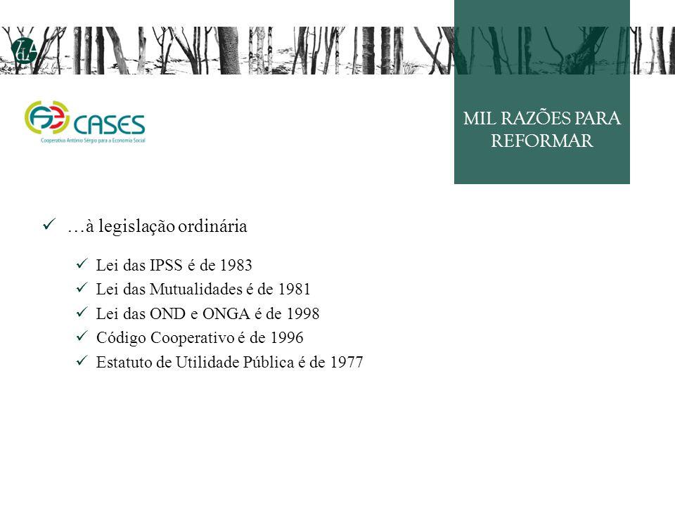 MIL RAZÕES PARA REFORMAR …à legislação ordinária Lei das IPSS é de 1983 Lei das Mutualidades é de 1981 Lei das OND e ONGA é de 1998 Código Cooperativo é de 1996 Estatuto de Utilidade Pública é de 1977