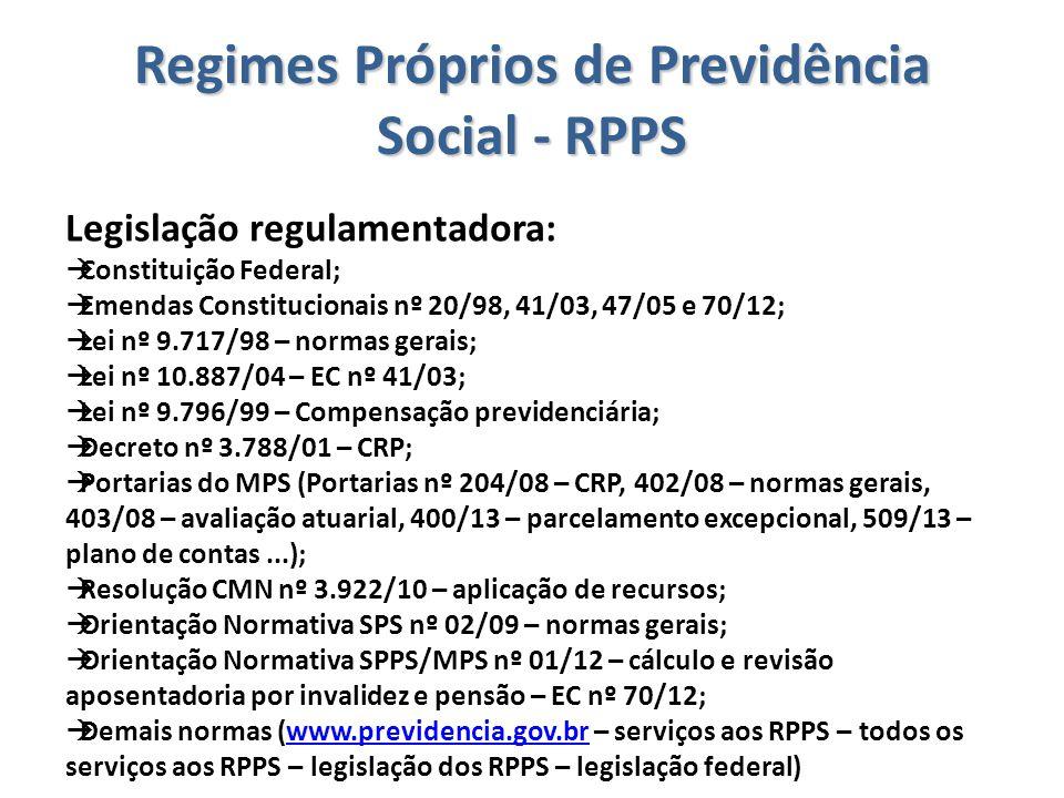 Regimes Próprios de Previdência Social - RPPS Legislação regulamentadora:  Constituição Federal;  Emendas Constitucionais nº 20/98, 41/03, 47/05 e 7