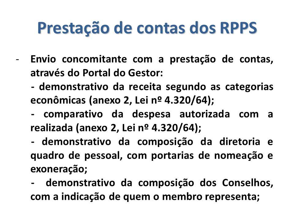 Prestação de contas dos RPPS -Envio concomitante com a prestação de contas, através do Portal do Gestor: - demonstrativo da receita segundo as categor