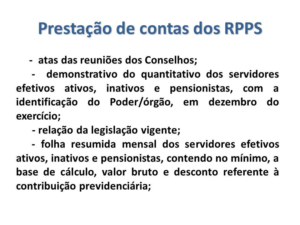 Prestação de contas dos RPPS - atas das reuniões dos Conselhos; - demonstrativo do quantitativo dos servidores efetivos ativos, inativos e pensionista
