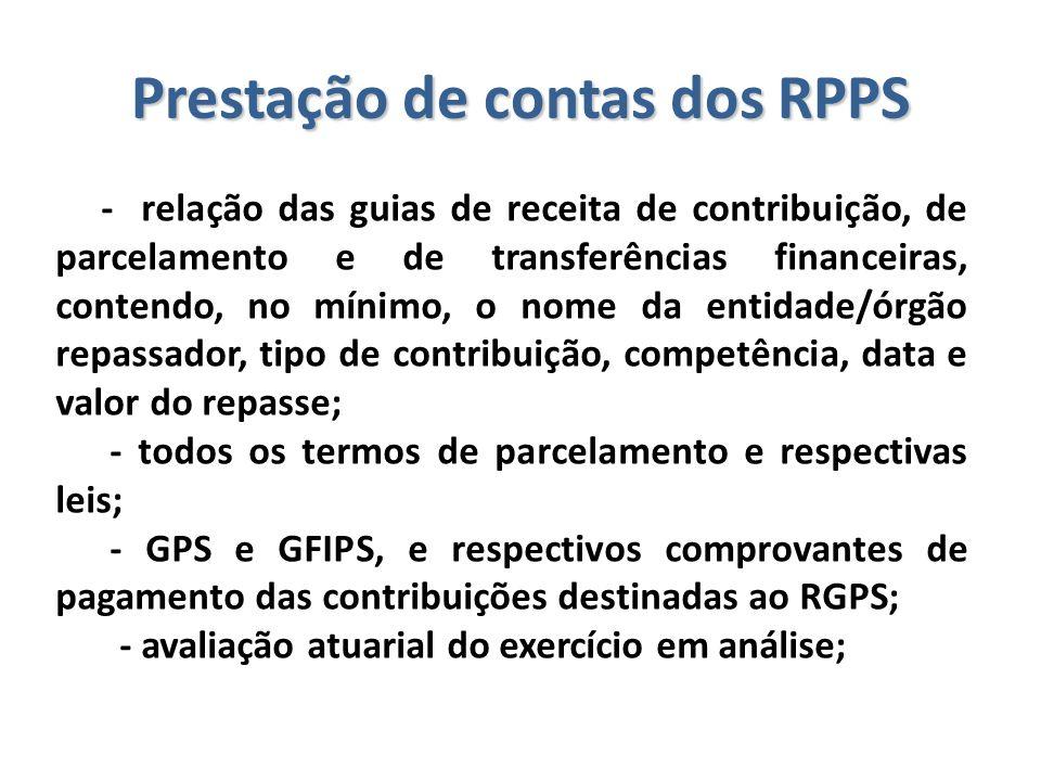 Prestação de contas dos RPPS - relação das guias de receita de contribuição, de parcelamento e de transferências financeiras, contendo, no mínimo, o n