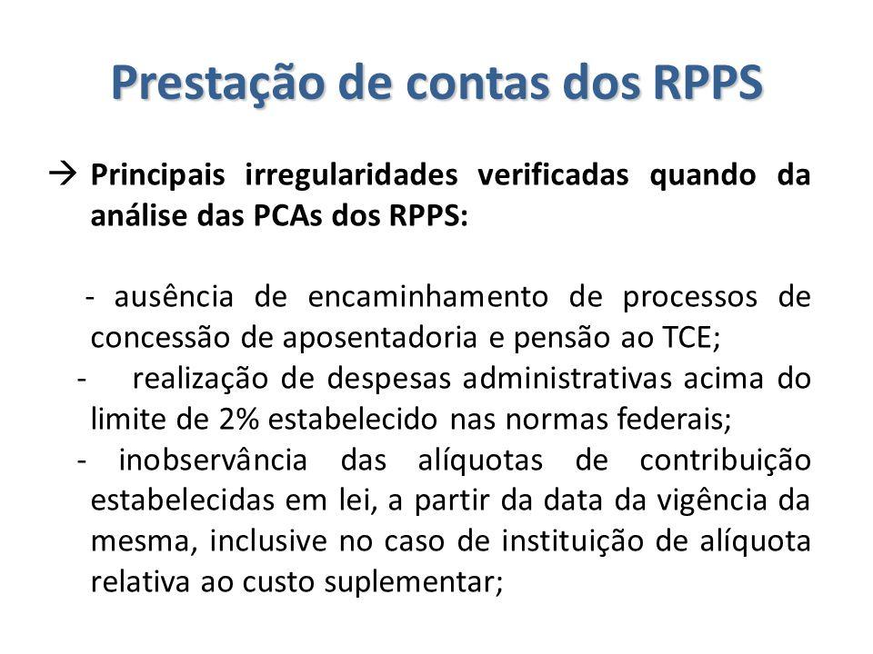Prestação de contas dos RPPS  Principais irregularidades verificadas quando da análise das PCAs dos RPPS: - ausência de encaminhamento de processos d