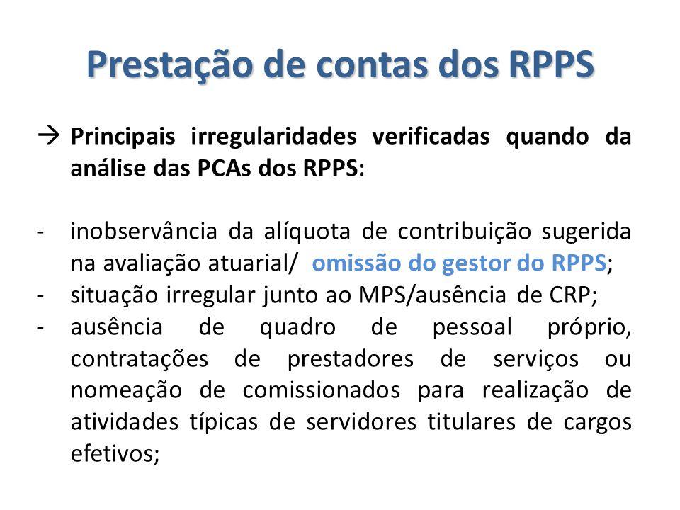 Prestação de contas dos RPPS  Principais irregularidades verificadas quando da análise das PCAs dos RPPS: -inobservância da alíquota de contribuição