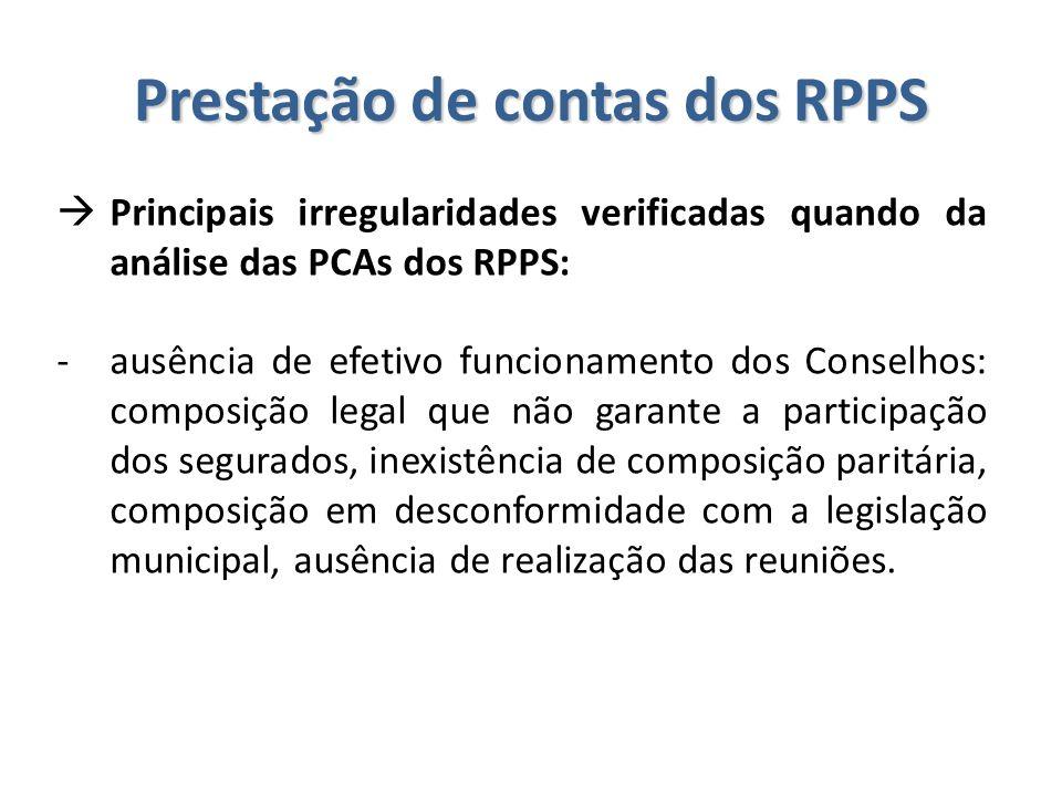 Prestação de contas dos RPPS  Principais irregularidades verificadas quando da análise das PCAs dos RPPS: -ausência de efetivo funcionamento dos Cons