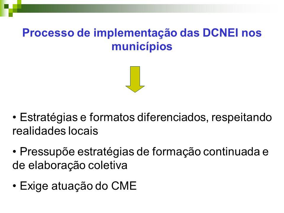 Processo de implementação das DCNEI nos municípios Estratégias e formatos diferenciados, respeitando realidades locais Pressupõe estratégias de formação continuada e de elaboração coletiva Exige atuação do CME