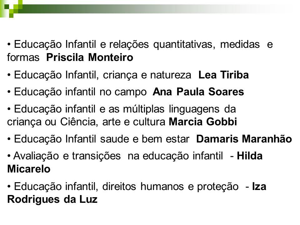 Educação Infantil e relações quantitativas, medidas e formas Priscila Monteiro Educação Infantil, criança e natureza Lea Tiriba Educação infantil no c