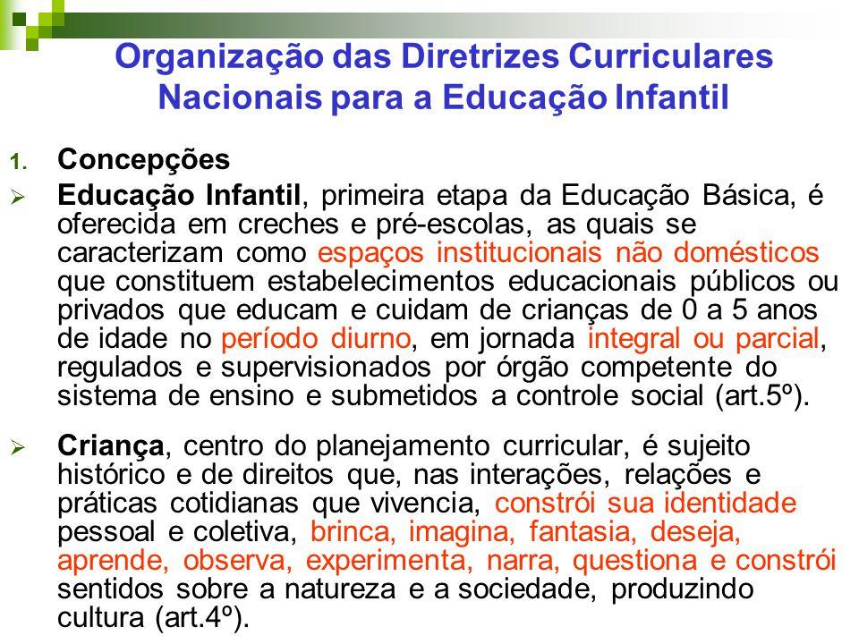 Organização das Diretrizes Curriculares Nacionais para a Educação Infantil 1. Concepções  Educação Infantil, primeira etapa da Educação Básica, é ofe