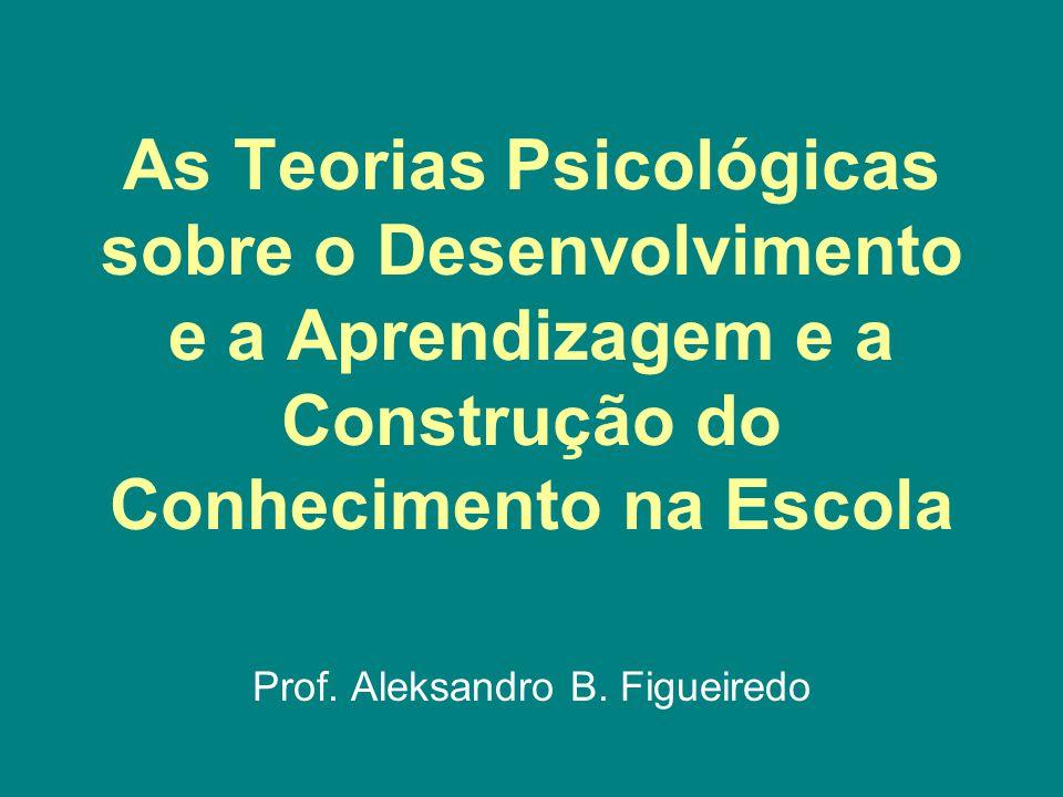 As Teorias Psicológicas sobre o Desenvolvimento e a Aprendizagem e a Construção do Conhecimento na Escola Prof. Aleksandro B. Figueiredo
