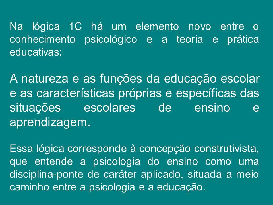 Na lógica 1C há um elemento novo entre o conhecimento psicológico e a teoria e prática educativas: A natureza e as funções da educação escolar e as ca