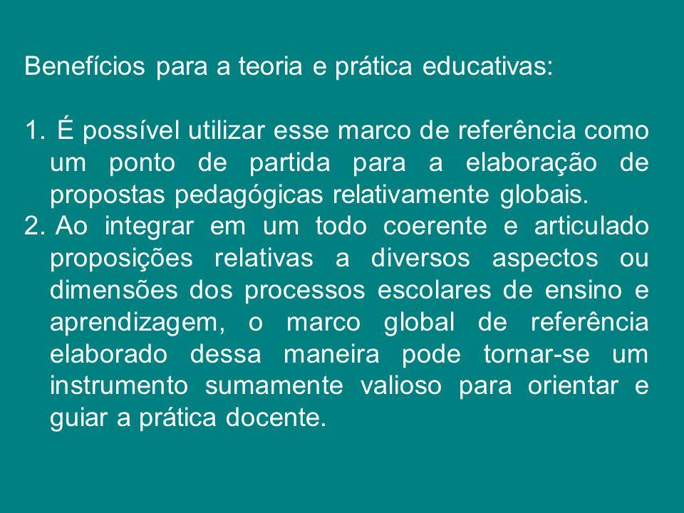 Benefícios para a teoria e prática educativas: 1. É possível utilizar esse marco de referência como um ponto de partida para a elaboração de propostas