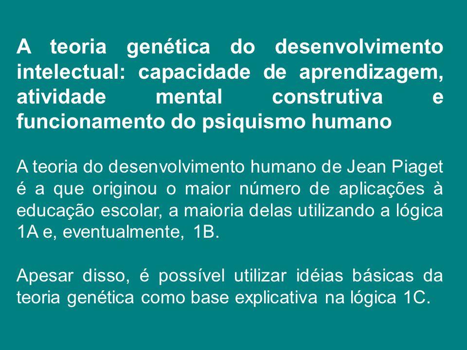 A teoria genética do desenvolvimento intelectual: capacidade de aprendizagem, atividade mental construtiva e funcionamento do psiquismo humano A teori