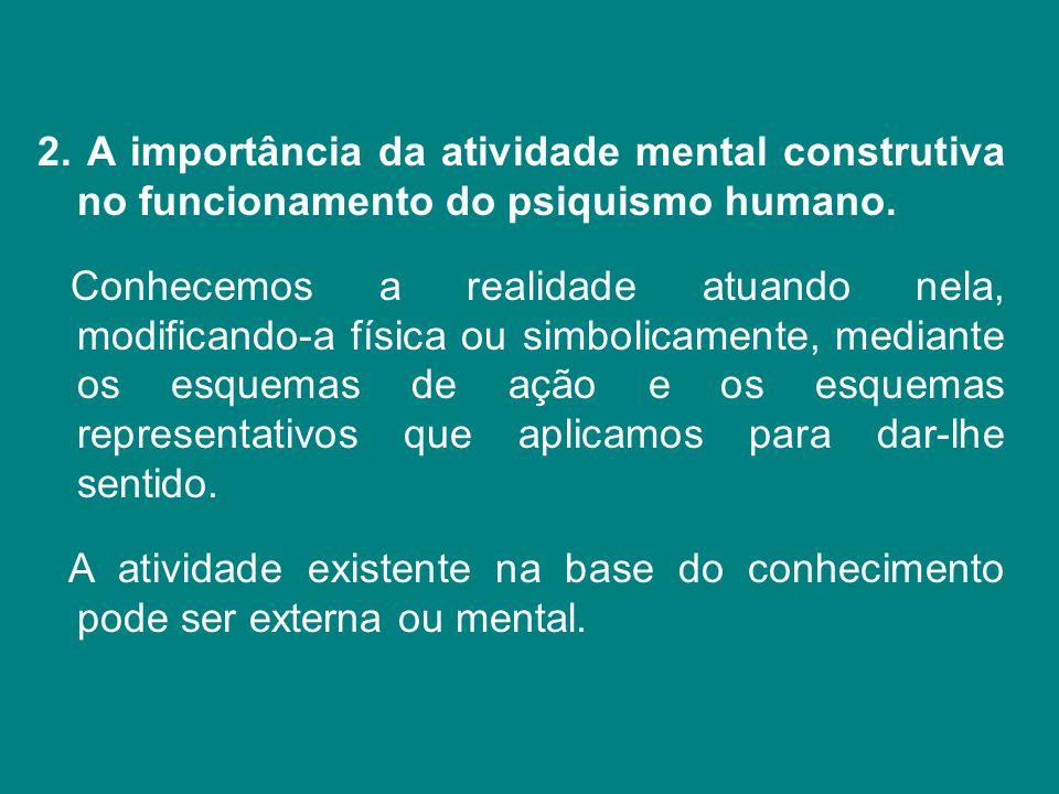 2. A importância da atividade mental construtiva no funcionamento do psiquismo humano. Conhecemos a realidade atuando nela, modificando-a física ou si