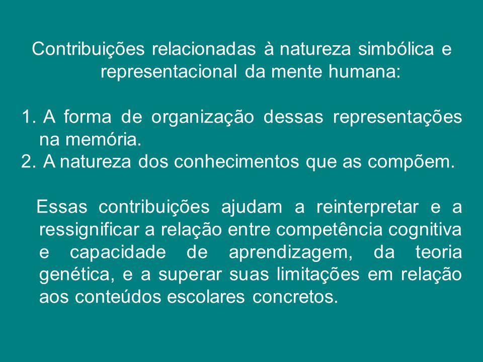Contribuições relacionadas à natureza simbólica e representacional da mente humana: 1. A forma de organização dessas representações na memória. 2. A n