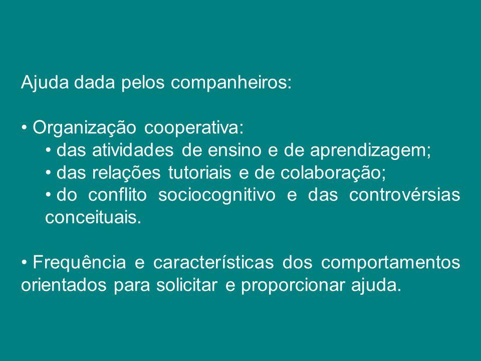 Ajuda dada pelos companheiros: Organização cooperativa: das atividades de ensino e de aprendizagem; das relações tutoriais e de colaboração; do confli