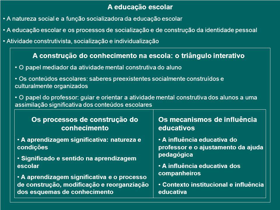 A educação escolar A natureza social e a função socializadora da educação escolar A educação escolar e os processos de socialização e de construção da