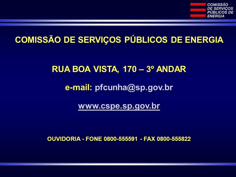 COMISSÃO DE SERVIÇOS PÚBLICOS DE ENERGIA RUA BOA VISTA, 170 – 3º ANDAR e-mail: pfcunha@sp.gov.br www.cspe.sp.gov.br OUVIDORIA - FONE 0800-555591 - FAX 0800-555822