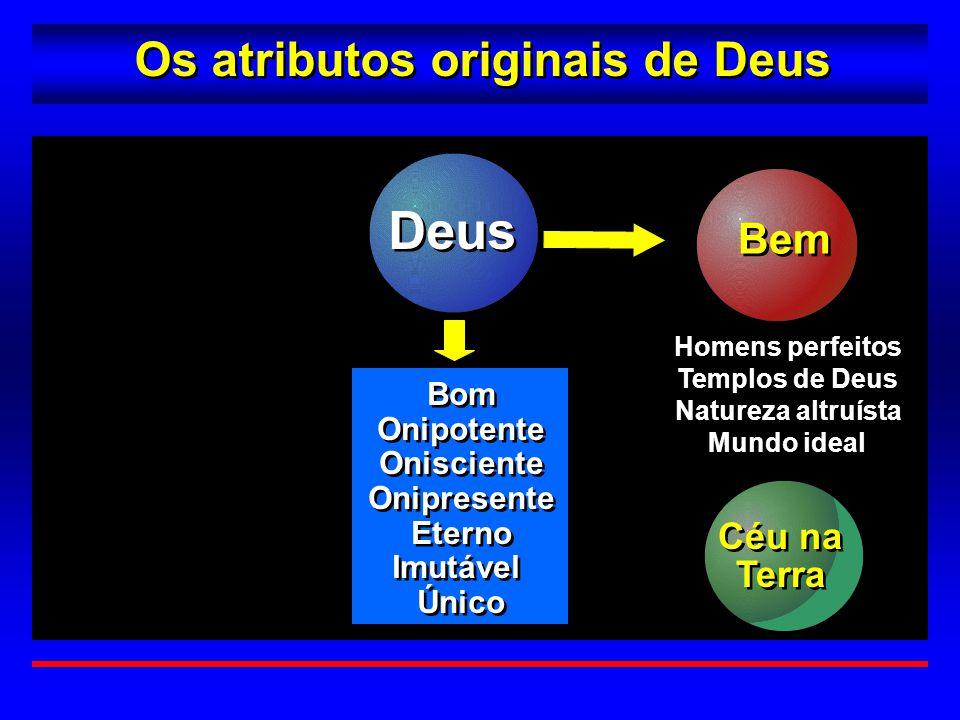 Os atributos originais de Deus Bem Homens perfeitos Templos de Deus Natureza altruísta Mundo ideal Homens perfeitos Templos de Deus Natureza altruísta