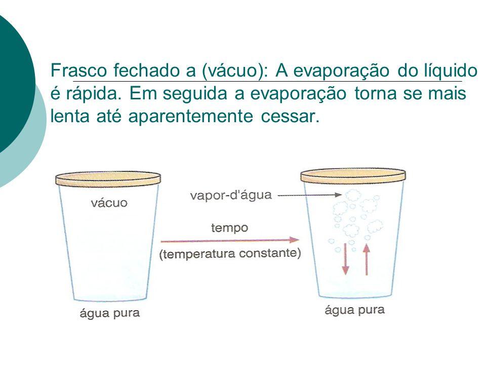 Frasco fechado a (vácuo): A evaporação do líquido é rápida. Em seguida a evaporação torna se mais lenta até aparentemente cessar.