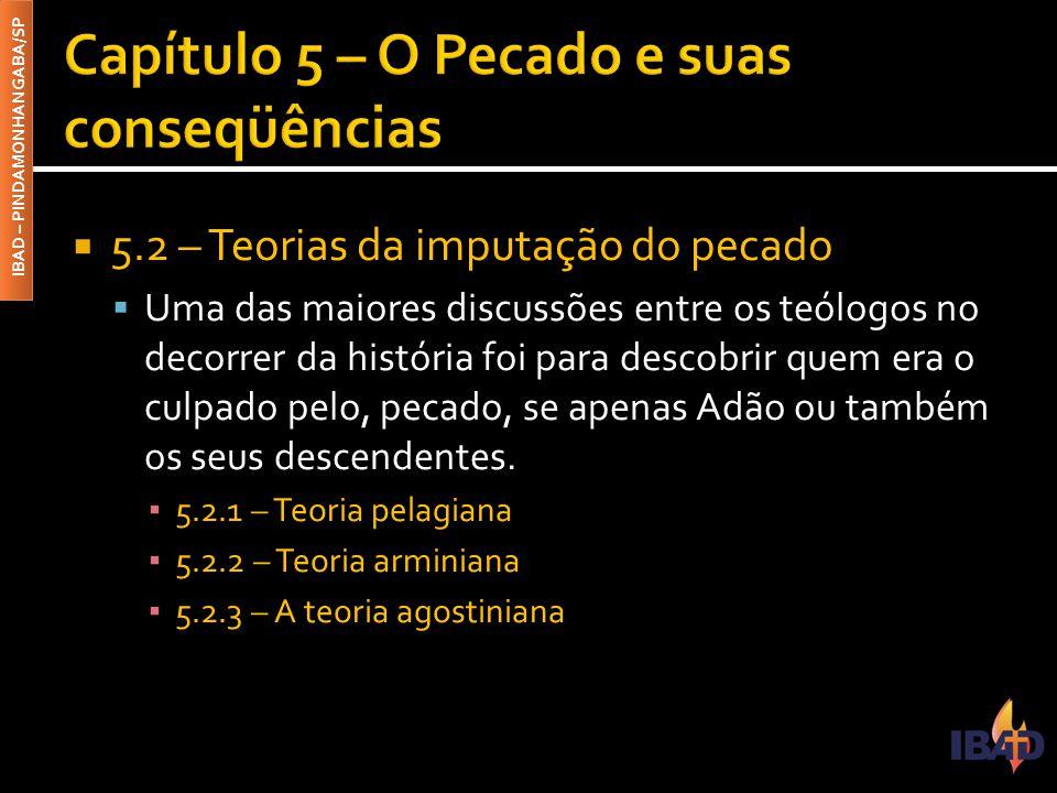 IBAD – PINDAMONHANGABA/SP  5.2 – Teorias da imputação do pecado  Uma das maiores discussões entre os teólogos no decorrer da história foi para desco