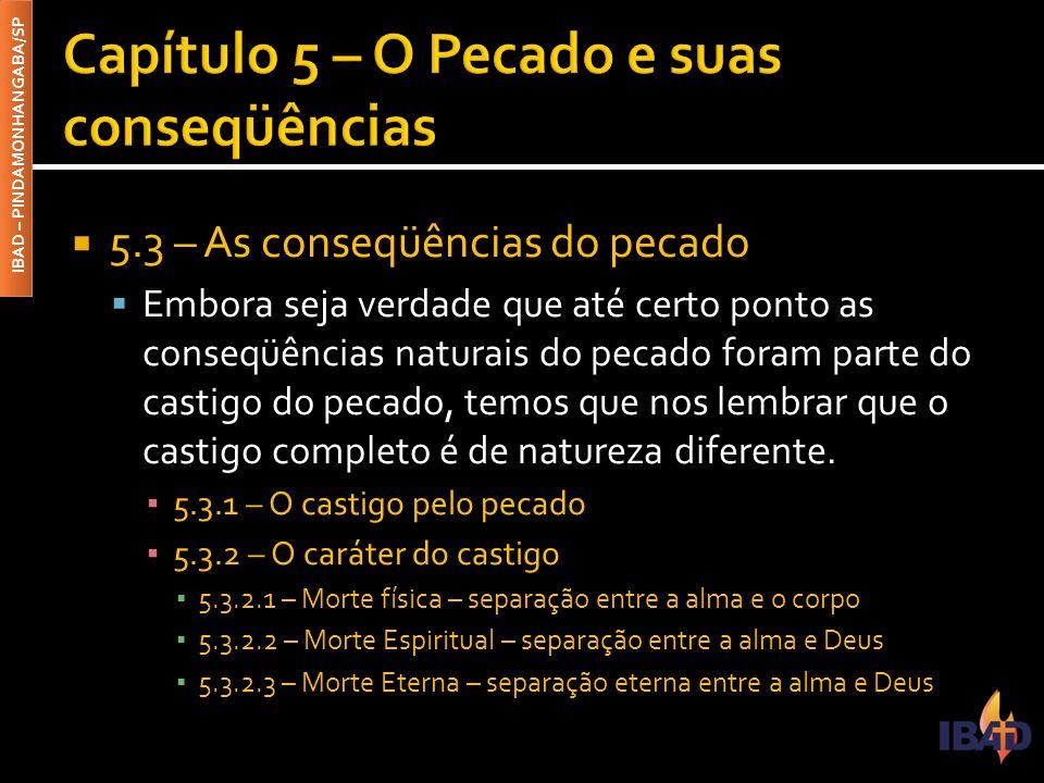 IBAD – PINDAMONHANGABA/SP  5.3 – As conseqüências do pecado  Embora seja verdade que até certo ponto as conseqüências naturais do pecado foram parte