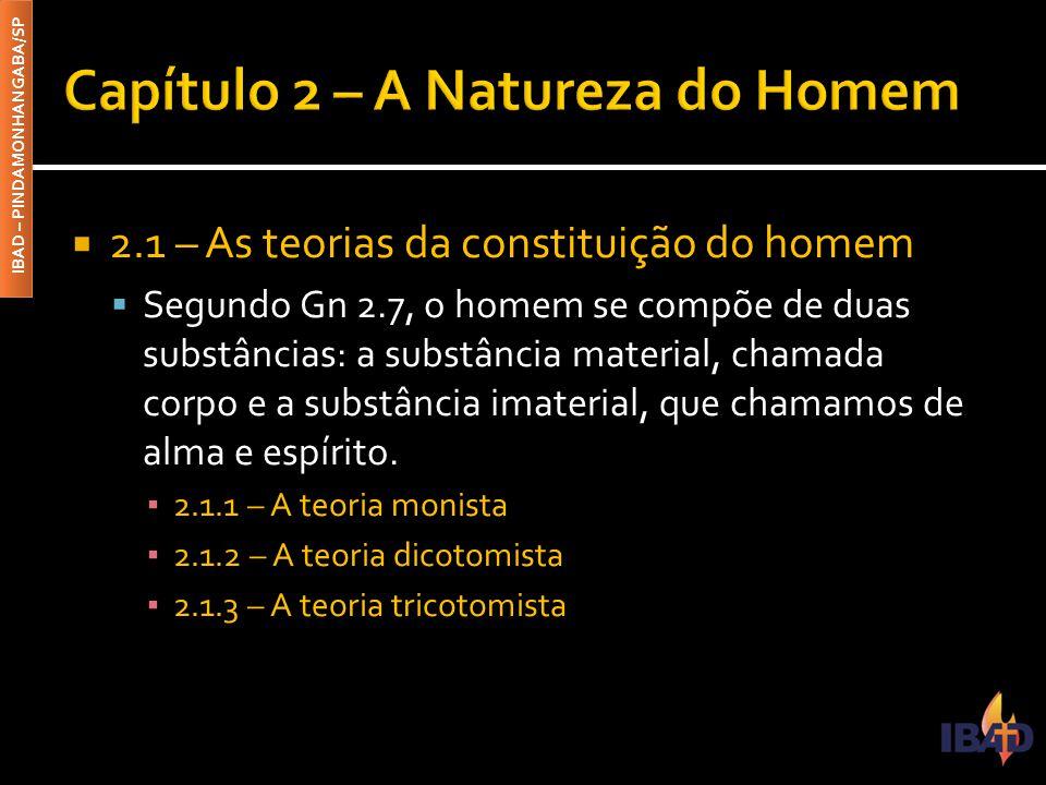 IBAD – PINDAMONHANGABA/SP  2.1 – As teorias da constituição do homem  Segundo Gn 2.7, o homem se compõe de duas substâncias: a substância material,