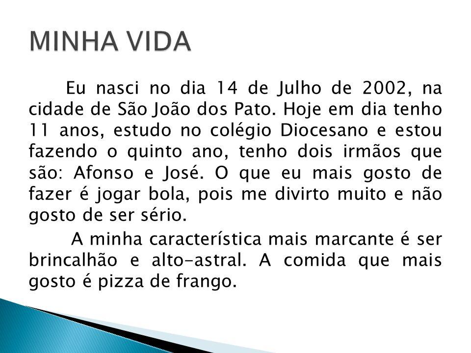Eu nasci no dia 14 de Julho de 2002, na cidade de São João dos Pato. Hoje em dia tenho 11 anos, estudo no colégio Diocesano e estou fazendo o quinto a