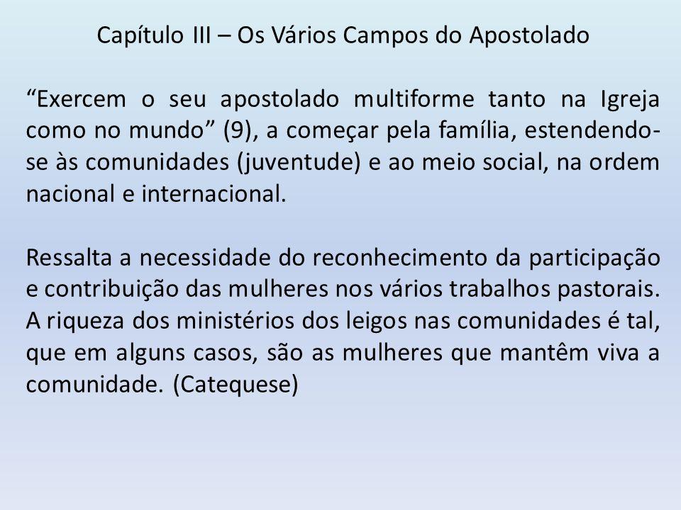 Capítulo III – Os Vários Campos do Apostolado Exercem o seu apostolado multiforme tanto na Igreja como no mundo (9), a começar pela família, estendendo- se às comunidades (juventude) e ao meio social, na ordem nacional e internacional.