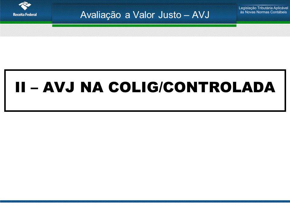 Avaliação a Valor Justo – AVJ II – AVJ NA COLIG/CONTROLADA
