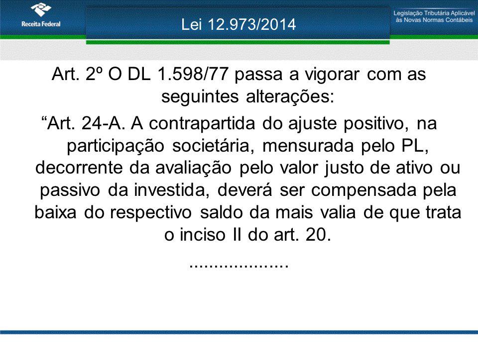 """Lei 12.973/2014 Art. 2º O DL 1.598/77 passa a vigorar com as seguintes alterações: """"Art. 24-A. A contrapartida do ajuste positivo, na participação soc"""