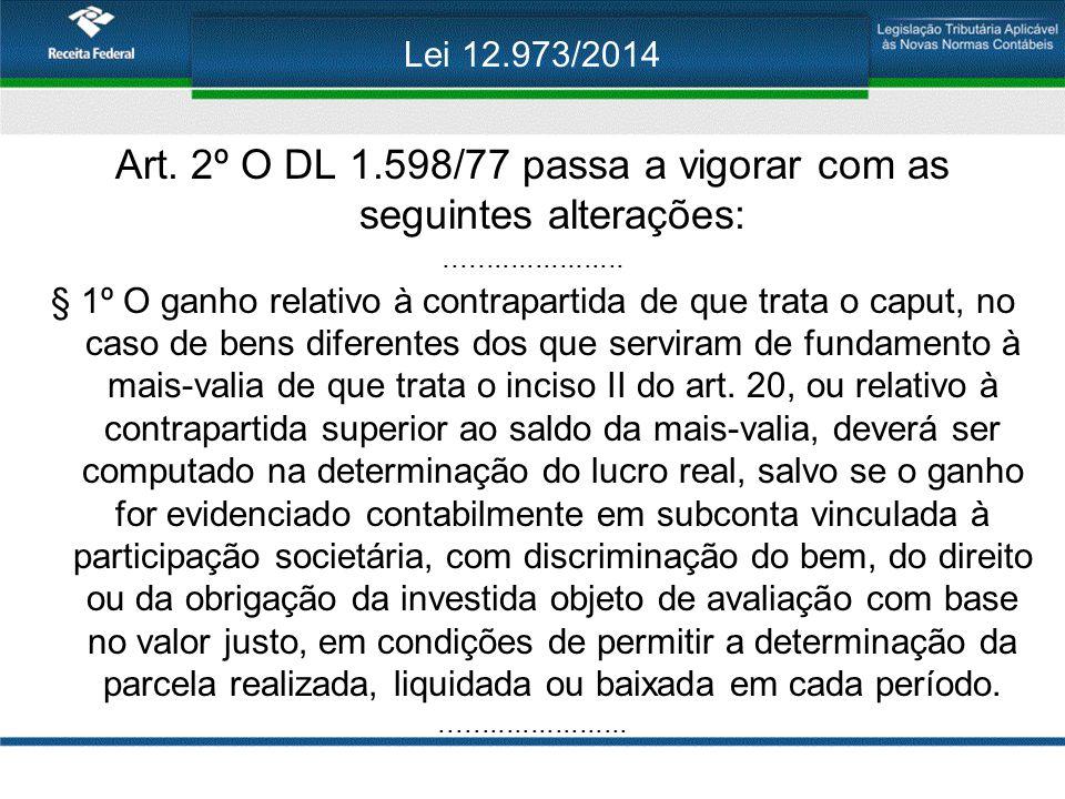 Lei 12.973/2014 Art. 2º O DL 1.598/77 passa a vigorar com as seguintes alterações:...................... § 1º O ganho relativo à contrapartida de que