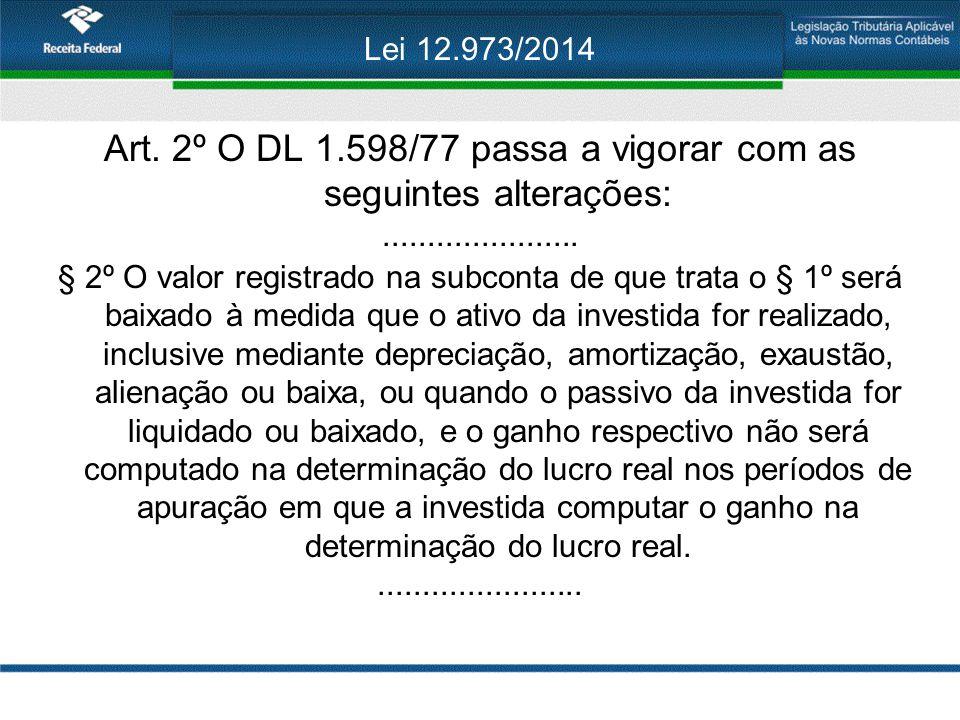 Lei 12.973/2014 Art. 2º O DL 1.598/77 passa a vigorar com as seguintes alterações:...................... § 2º O valor registrado na subconta de que tr