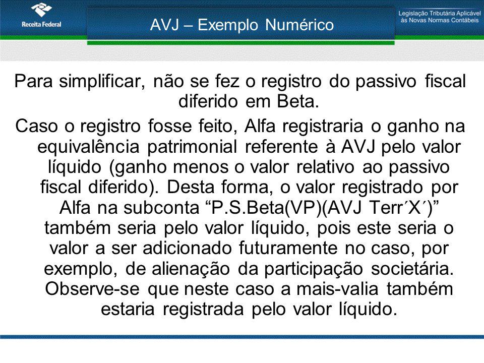AVJ – Exemplo Numérico Para simplificar, não se fez o registro do passivo fiscal diferido em Beta. Caso o registro fosse feito, Alfa registraria o gan