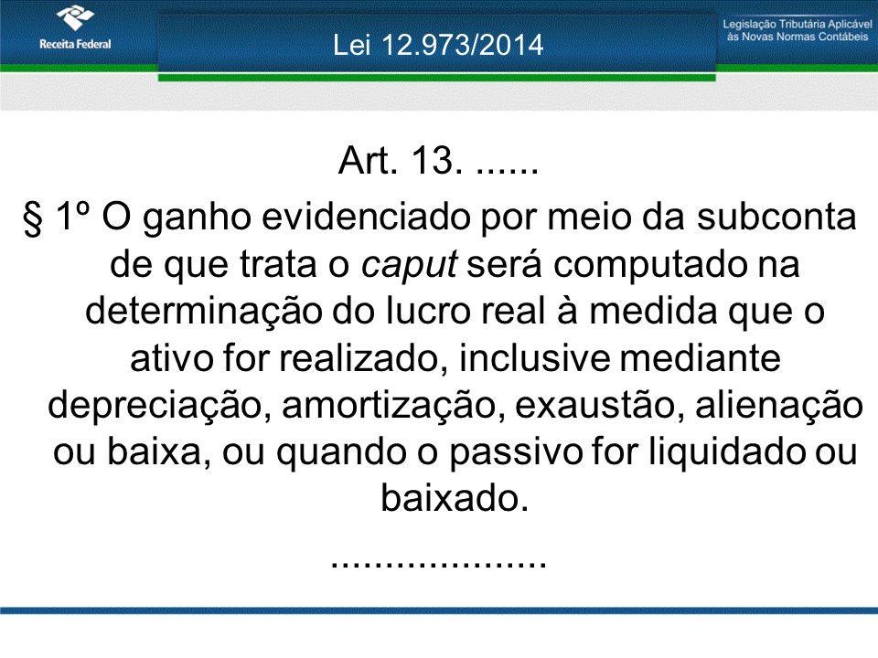 Lei 12.973/2014 Art. 13....... § 1º O ganho evidenciado por meio da subconta de que trata o caput será computado na determinação do lucro real à medid
