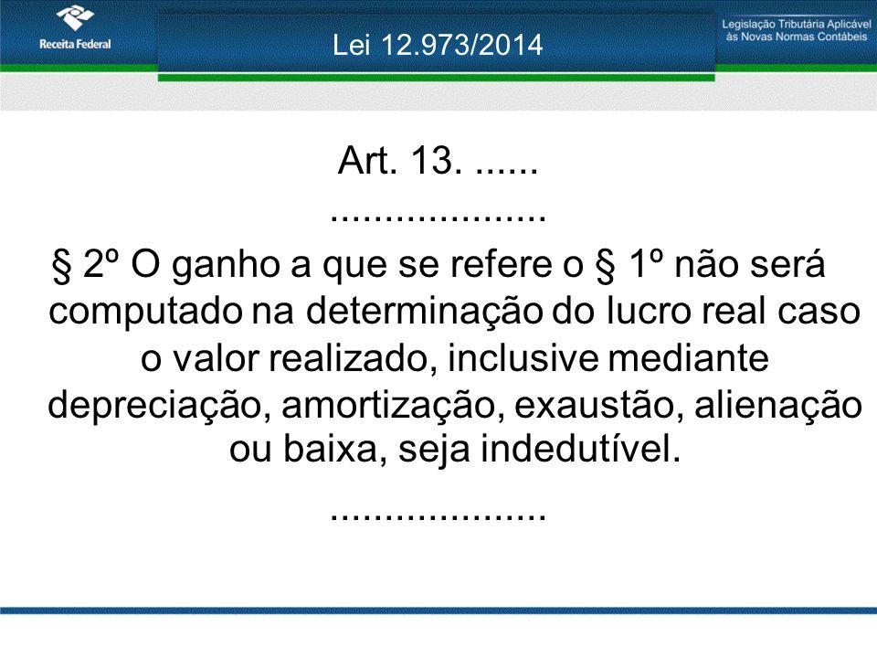 Lei 12.973/2014 Art. 13........................... § 2º O ganho a que se refere o § 1º não será computado na determinação do lucro real caso o valor r