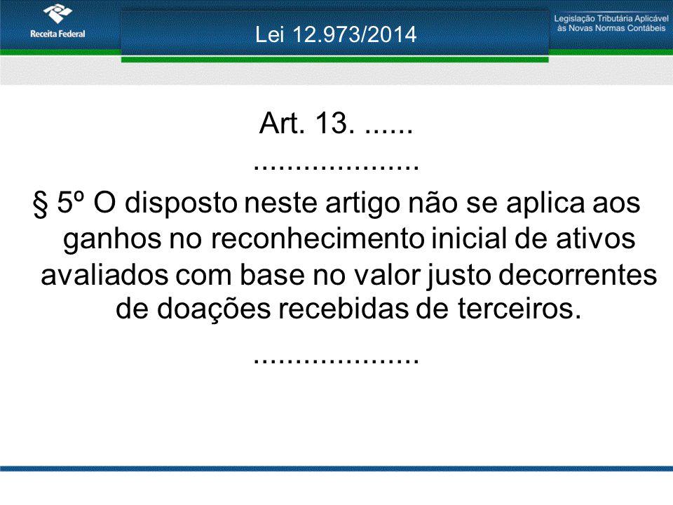 Lei 12.973/2014 Art. 13........................... § 5º O disposto neste artigo não se aplica aos ganhos no reconhecimento inicial de ativos avaliados