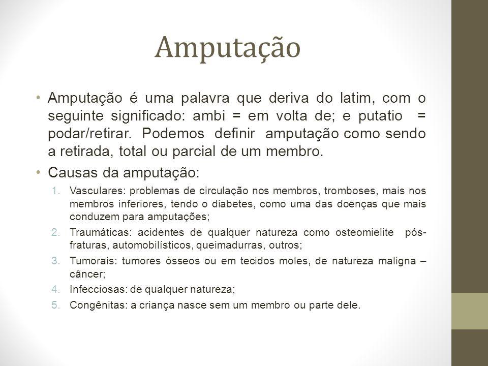 Amputação Amputação é uma palavra que deriva do latim, com o seguinte significado: ambi = em volta de; e putatio = podar/retirar. Podemos definir ampu