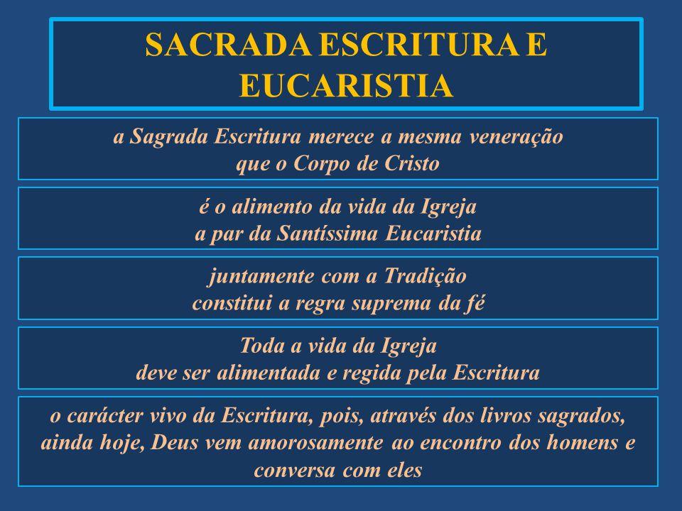 SACRADA ESCRITURA E EUCARISTIA a Sagrada Escritura merece a mesma veneração que o Corpo de Cristo é o alimento da vida da Igreja a par da Santíssima E
