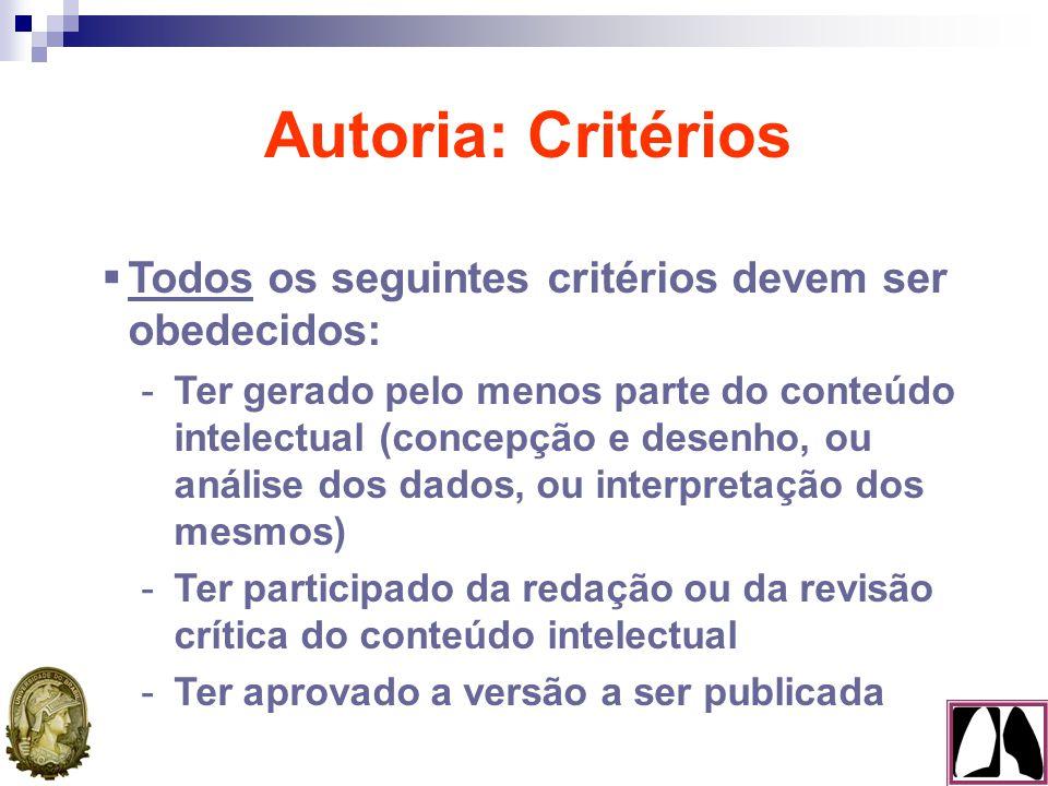 Autoria: Critérios  Todos os seguintes critérios devem ser obedecidos: -Ter gerado pelo menos parte do conteúdo intelectual (concepção e desenho, ou análise dos dados, ou interpretação dos mesmos) -Ter participado da redação ou da revisão crítica do conteúdo intelectual -Ter aprovado a versão a ser publicada